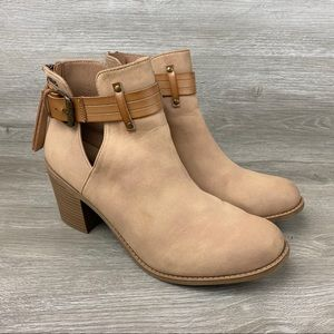 Roxy Laurel Womens Cut-Out Tan Ankle Boots Size 10